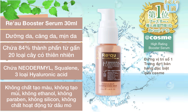 Serum thảo mộc Re'au Botanical Plus A hydrating booster serum 30ml, 84% Botanical Plus Skin Care của Nhật